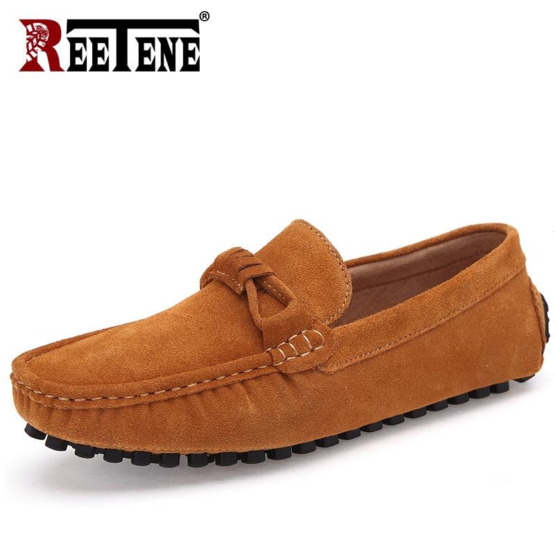 Casual Hommes brown Reetene Conduite Qualité Appartements Mocassins Blue red Daim De Haute Cuir Chaussures Respirant Bateau En Dark 2018 gray CqF5qO