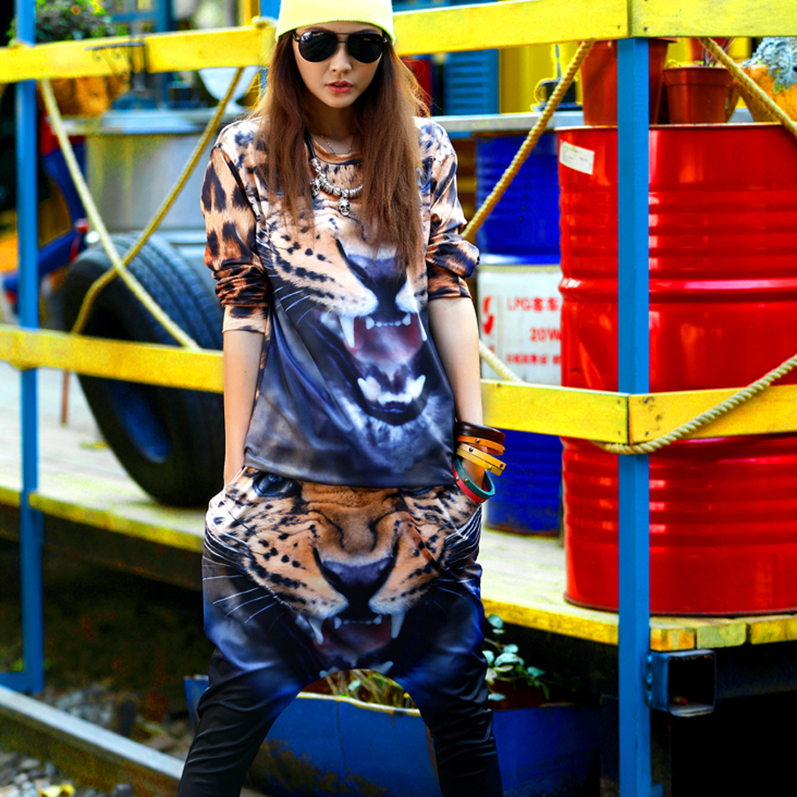 2018 Tracksuit for women two piece set sportswear plus size print Leopard animal tracksuits harajuku sets costumes for women
