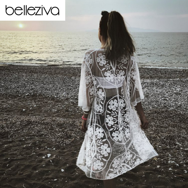 944769c1061e7 Belleziva Embroidered Sheer Swimsuit Cover Up See-through Lace Cover Up  Women De Plage Beach
