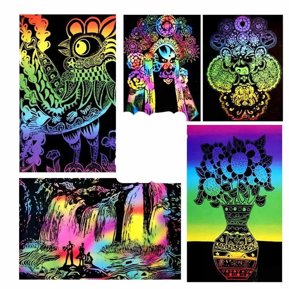 Nuovo Regalo Colorato Scratch Art Magia Disegno Toys 10 Foglio 16 K Carta Pittura Giocattolo Per Bambini