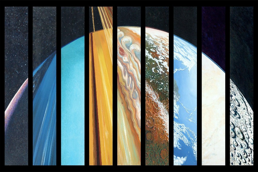 DIY frame planet, Solar System art posters and print home decor silk ...
