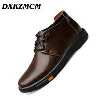DXKZMCM Genuine Leather Men Boots Autumn Winter Ankle Boots Fashion Casual Footwear Lace Up   Shoes   Men   Shoes