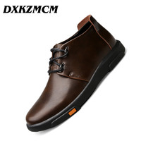 DXKZMCM Genuine Leather Men Boots Autumn Winter Ankle Boots Fashion Casual Footwear Lace Up Shoes Men Shoes