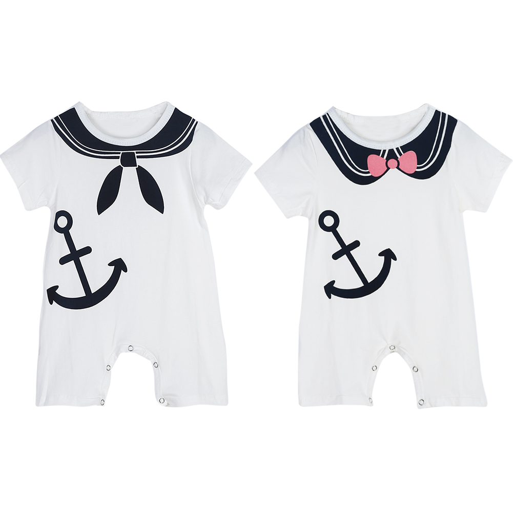 Baby Cute Bowtie Rompers Twin Anchor Printed Jumpsuit Baby Girl Boy Clothes Newborn Girl Bowknot Collar Clothes New Years Gift