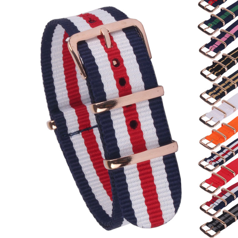Buy 2 Get 20% OFF) Rose Gold Buckle 18/20/22mm Stripe Cambo Solid Watch Army Military nato fabric Nylon watchbands Strap Bands  wholesale stripe cambo solid black watch 22 mm multi color army military nato fabric nylon watchbands strap bands buckle 22mm