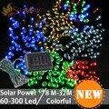 Impermeable 200/250/300 LED de la Secuencia Solar Luces de Colores Del Partido iluminación Boda Navidad Tira llevada Decoración Del Árbol de navidad hadas