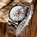Projeto Militar Ao Ar Livre Das Mulheres Dos Homens de Prata de luxo Cinta de Aço Inoxidável Relógio de Pulso de Quartzo Relógio de Pulso de Moda Vestido