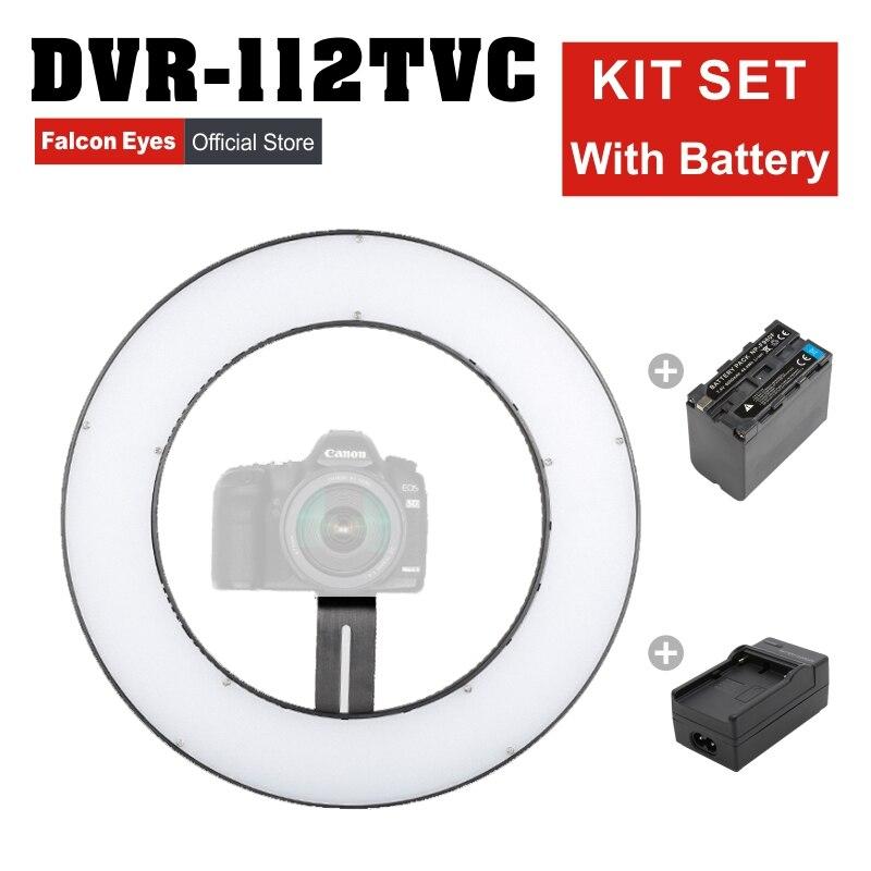 Falcon Eyes 23W LED belleza anillo lámpara 3000-5600K regulable foto/Video/película/estudio fotografía continuo Kit de DVR-112TVC de luz