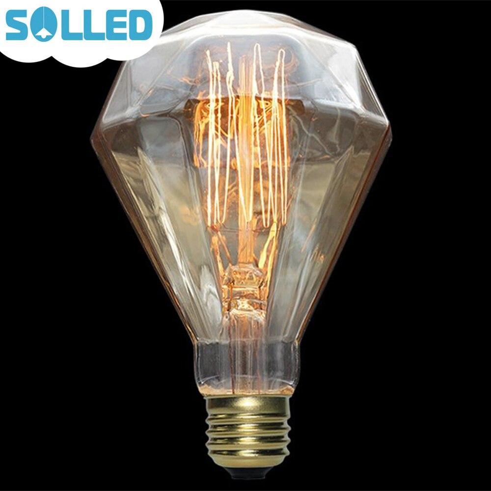 SOLLED 110V 40W Edison E27 Vintage Light Bulbs Diamond Shape Warm White Squirrel Cage Filament Lamp Incandescent Light Bulb 5pcs e27 led bulb 2w 4w 6w vintage cold white warm white edison lamp g45 led filament decorative bulb ac 220v 240v