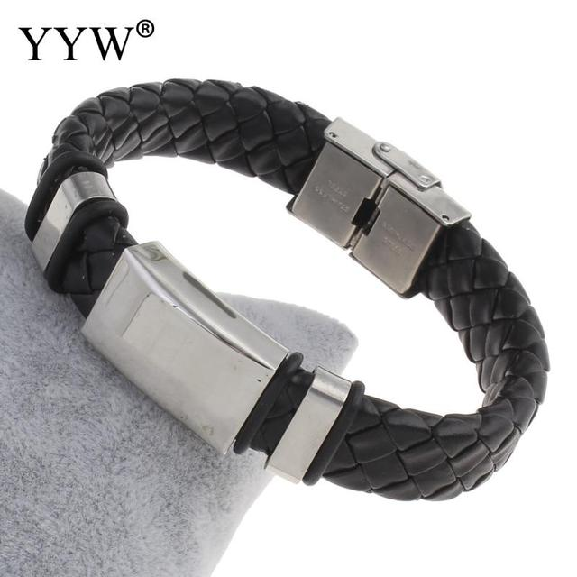 2017 Mens Bracelets & Bangles Pu Leather Stainless Steel Bracelet For Men Black Silicone Rubber Wristbands Fashion Jewelry by Yyw