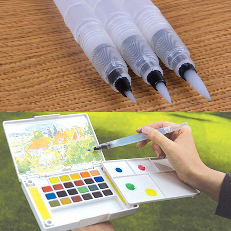Hot Sale 1/3Pcs Refillable Ink Color Pen Water Brush Painting Calligraphy Illustration Pen Office Stationery TY