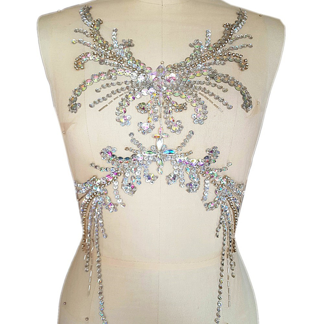 4768351b38 US $29.99 |EXquisite AB 28x52cm Handmade Sewing Crystal Rhinestone sequin  Applique Patch Embroidery Sew on for DIY Wedding Dress decoration-in  Patches ...