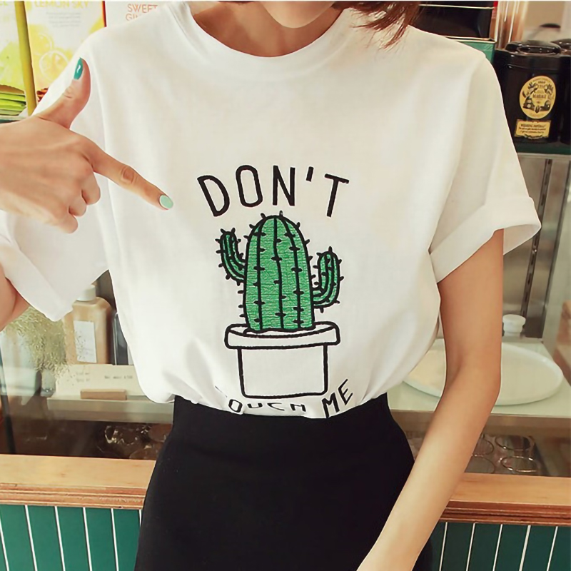 2019 New Women Tshirt Cactus Personality Fashion T Shirt Summer Harajuku Aesthetics Short Sleeve White Tops Funny Female T-shirt
