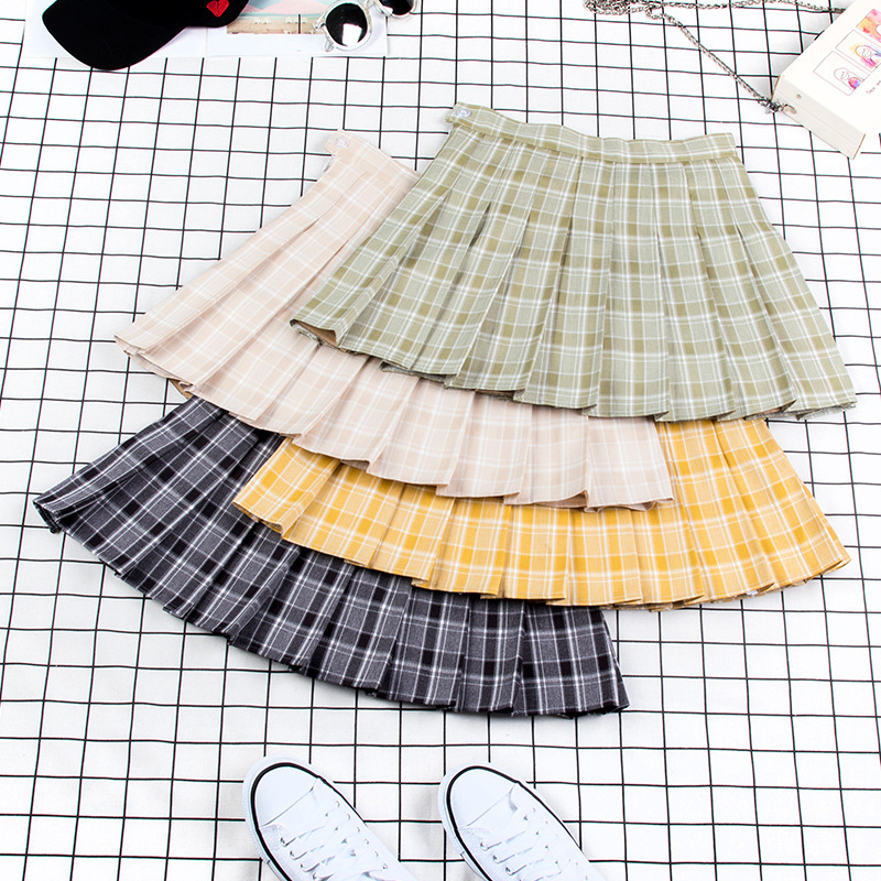 XS-XXL Seven Colors Women A-Line Skirt High Waist Student Pleated Skirts Safety Pants Zipper Button Plaid Mini Skirt