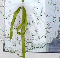 Großhandel Kleine frische floral Stickerei sheer fenster vorhang 1 stücke