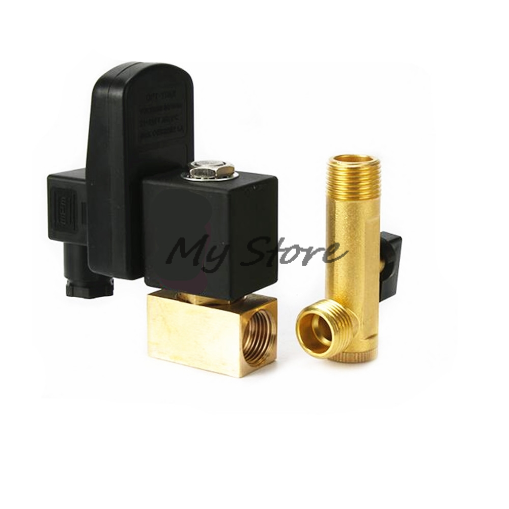 Electronic Drain Valves 1/2  Air Compressor Brass Valve C Type DC24V AC220V 1.6Mpa Drain Valve High Quality Sanmin replacement air compressor spares for ingersoll rand thermostat valve 35288117 openning temperature 70degree c