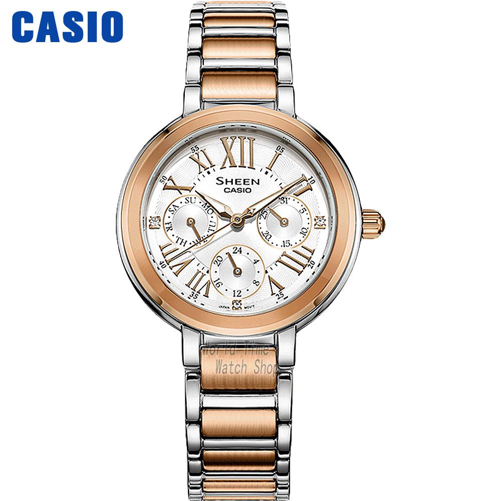 Casio watch Fashion business urban women table SHE-3034D-7A SHE-3034GL-4A SHE-3034GL-7A SHE-3034GL-7B SHE-3034SG-7 casio sheen multi hand shn 3013d 7a