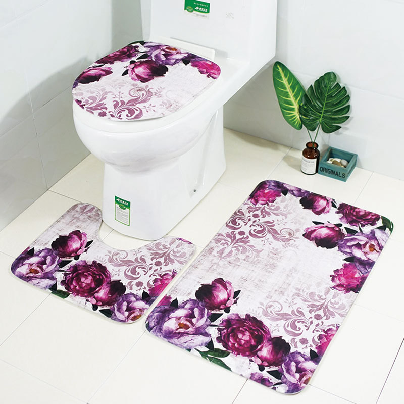 4PCS Christmas Bathroom Mat Rugs Set Toilet Cover Bath Cover WC Cushion Bathmats