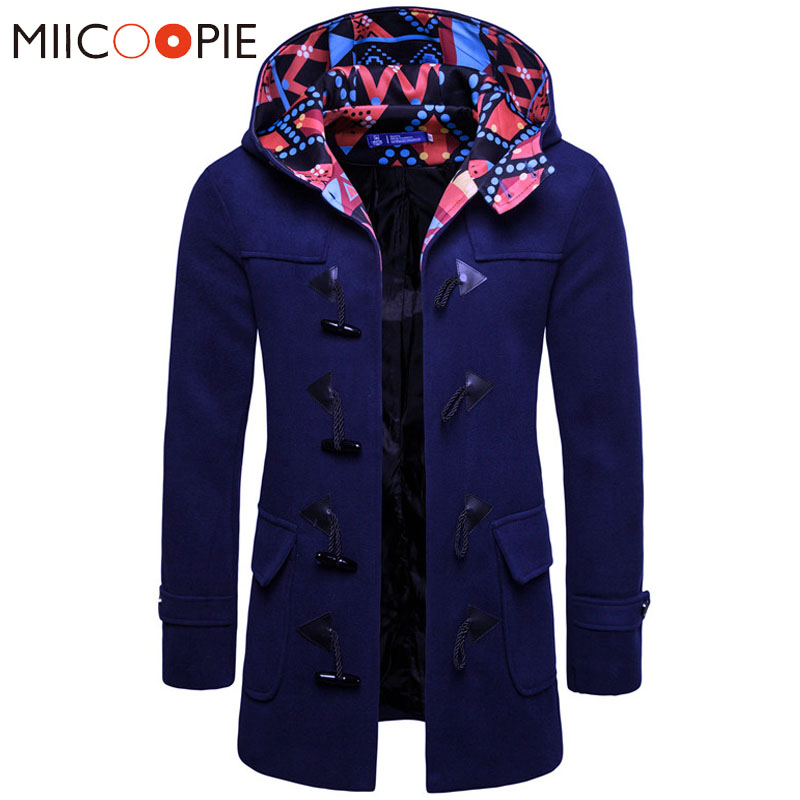 Men Jacket Coats Fashion Horns Buckle Jacket Trench Contrast Color Silm Fit Black Navy Grey Overcoat Trench Long Outwear XXXL