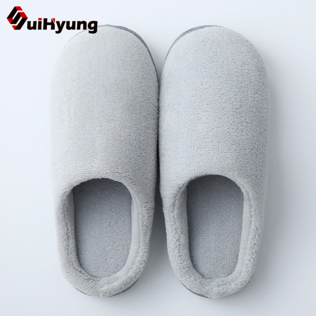 Suihyung 2018 Men Sandals Men's Shoes Winter Warm Flock Home Slippers Casual Cotton Flat Male Indoor Floor Flip Flops Plush