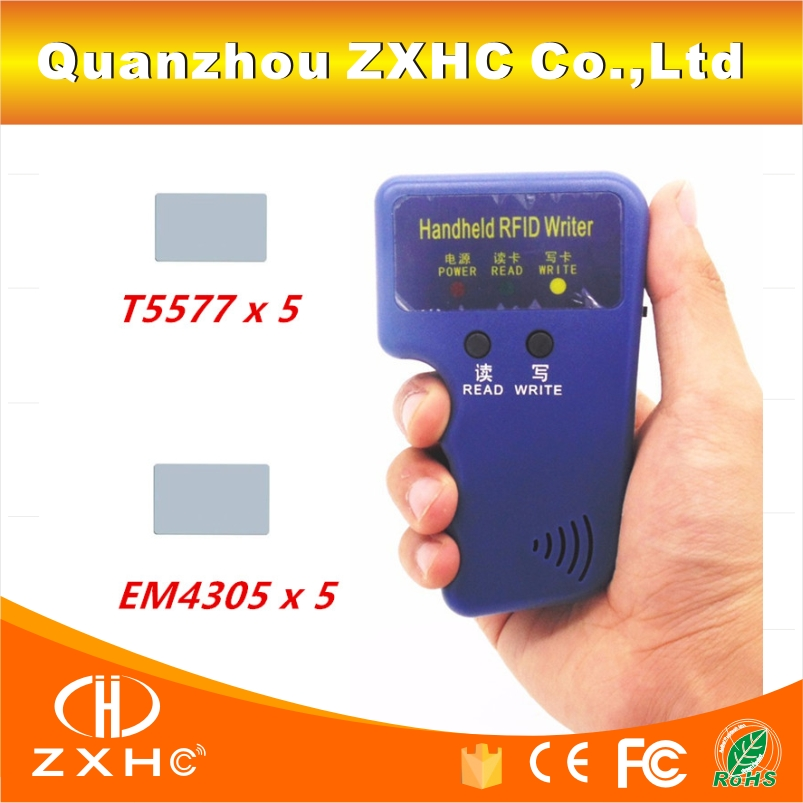 Handheld RFID Reader Writer 125KHZ RFID Copier Duplicator For ID Card + 5pcs T5577 Card and + 5pcs EM4305 Card handheld 125khz rfid id card duplicator programmer reader writer copier duplicator 6 pcs cards 6 pcstags kit