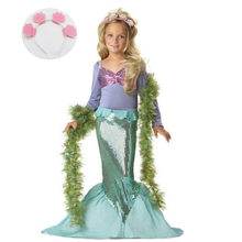 743d652984e Children s Costumes for Girl Kids Halloween Carnival Birthday Party Clothing  Outfit Baby Girl Little Mermaid Dress + Headband