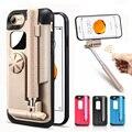 Para iphone 7 case lujo espejo plegable flexible giratorio selfie stick case para iphone 7 plus case bluetooth romover con soporte