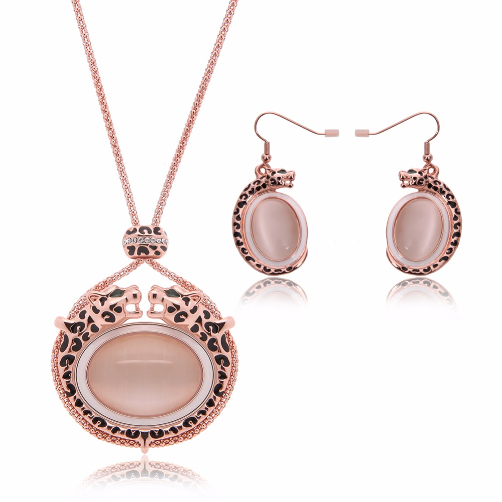 Vintage Opal Statement Leopard Pendant Necklace Drop Earrings Rose Gold  Filled Nigerian African Costume Jewelry Sets
