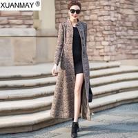 2018 Winter new super Woolen Windbreaker coat Over the knee Long style retro women's Collect the waist Windbreaker Coat female