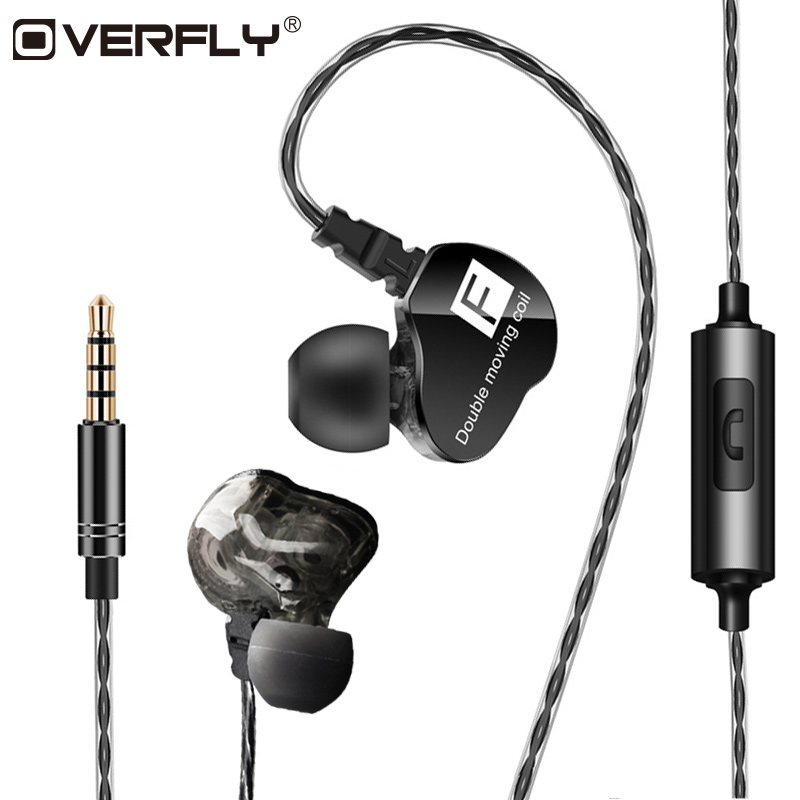 Overfly In Ear Sport Headphones Dual Driver Earphone With Mic Gaming Earbuds Dynamic Drivers Headset For Phone Wired Earphones plextone x46m in ear earphone removable metal 3 5mm stereo bass earbuds gaming headset with mic for computer phone iphone sport