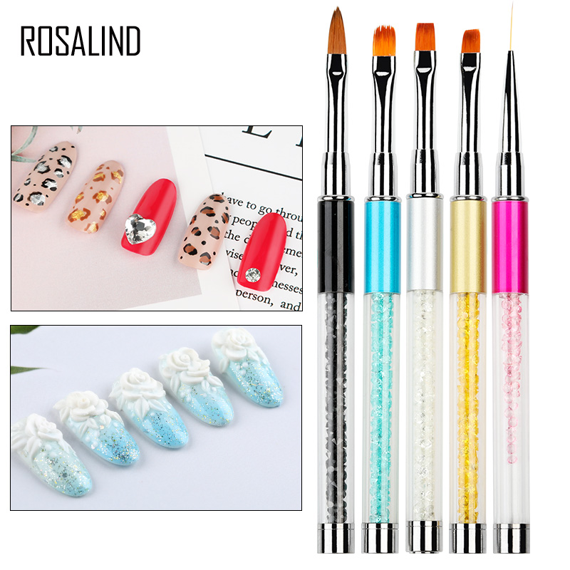 ROSALIND Nail Brushes For Manicure Design Tool Set 3D Gel Acrylic Brushes Liner Ainting Pen Nail Art Brush For Nails Accessoires