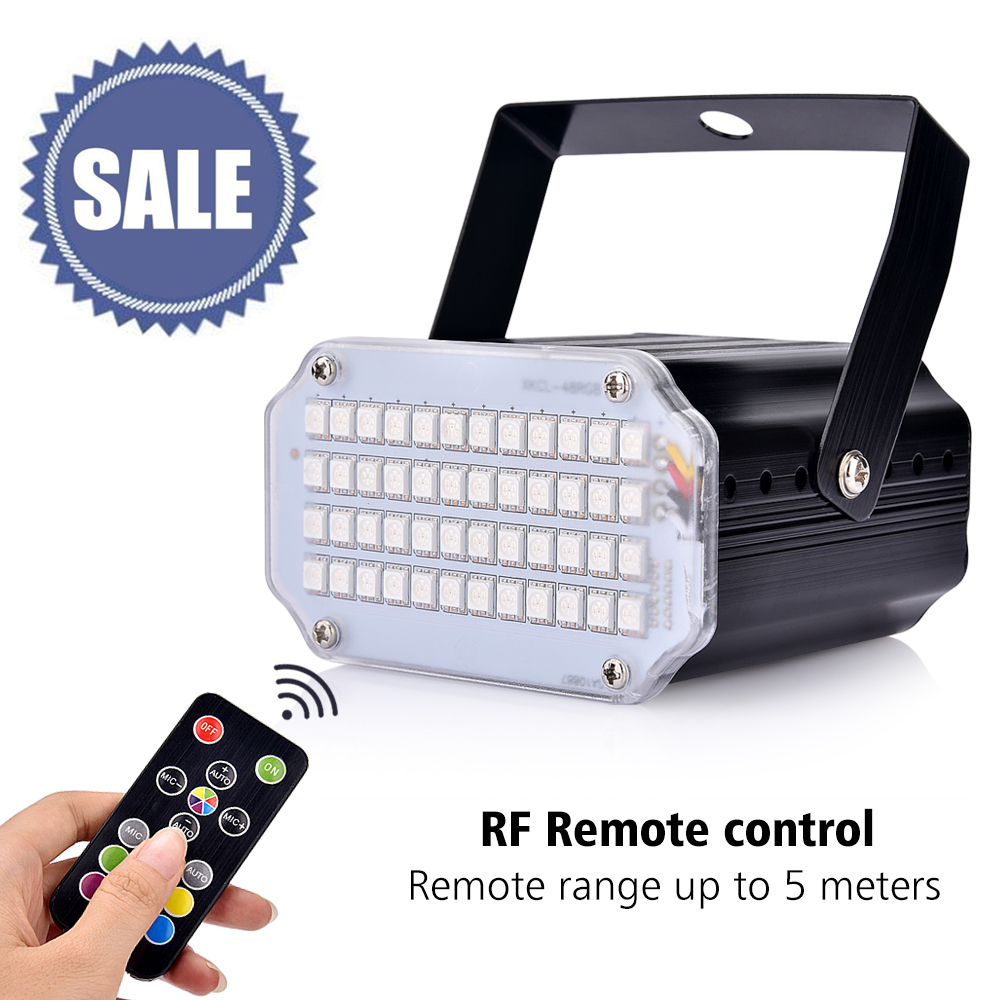Strobe Stage Light Disco Bar Music Party 48 RGB Remote Control Mini Stage Lights Festival Glow Party Supplies Carnival Lighting (5)