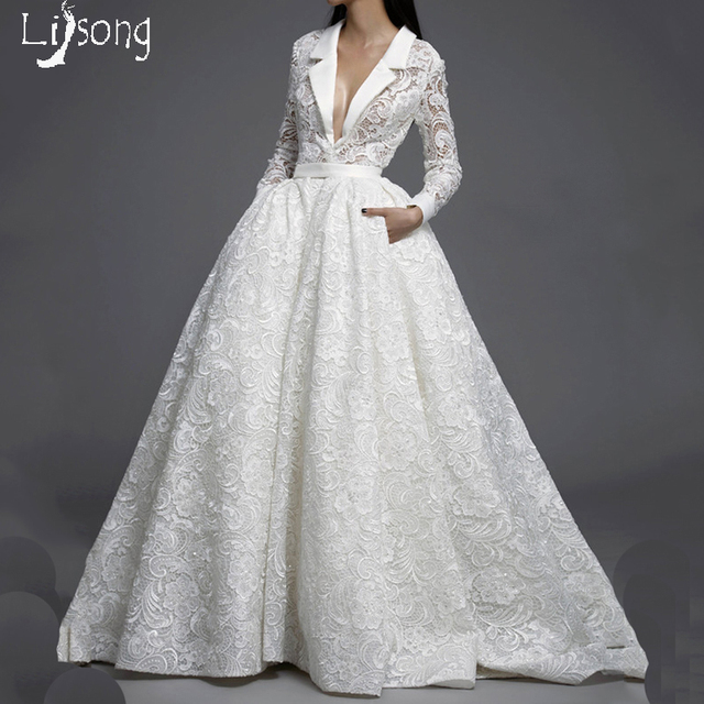 Special Design Lace Long Sleeves Chic Wedding Ball Gowns Custom Made ...