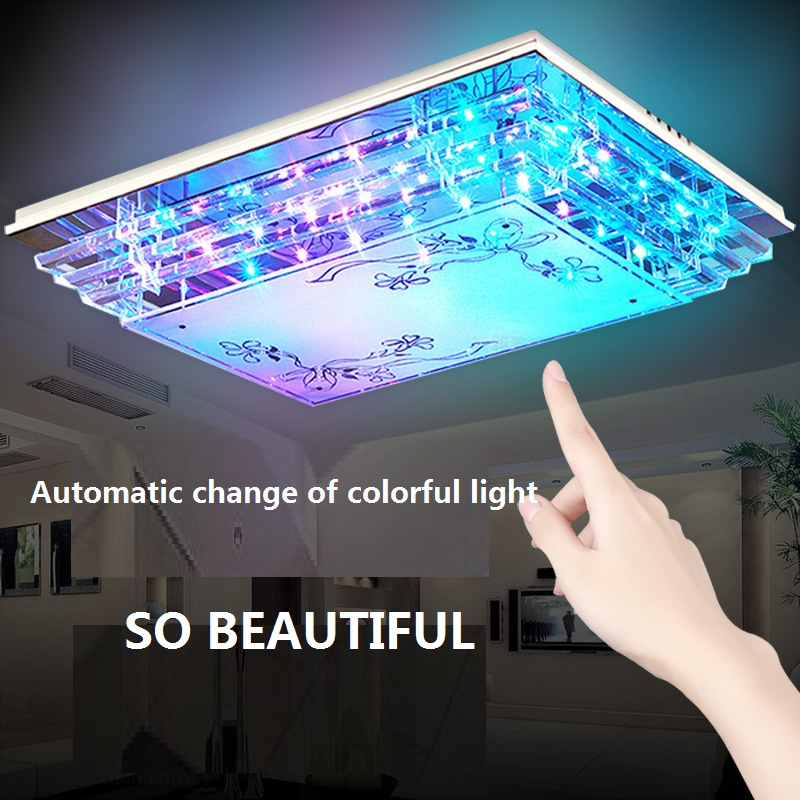 Simple modern LED crystal remote control hall home bedroom living room ceiling lamp