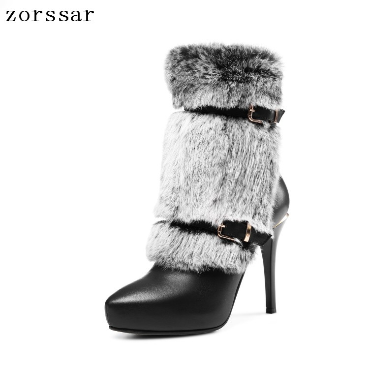 {Zorssar} Luxury brand Natural leather Platform boots Women Ankle Boots Sexy Thin High Heels Women Shoes Winter warm snow boots brand new suede leather women platform boots famous designer high heels dress shoes woman gladiator luxury women ankle boots