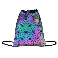 2019 New Geometric dazzle colour Drawstring backpack shoulders male and female students Reflective pocket(China)