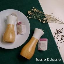 Wooden Pepper Grinder Sea Salt Pepper Shakers Set Smooth Manual Effortless Mills Oilcan Shaped By Tessie & Jessie