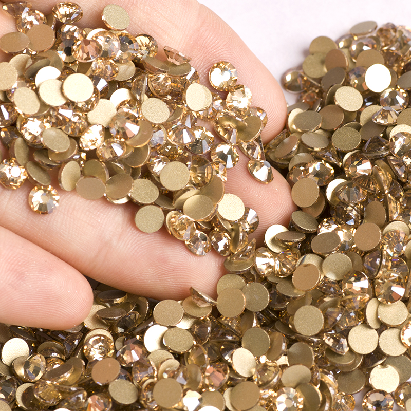 YANRUO 2058NoHF GSHA Ikke Hot Fix Rhinestone Flatback Krystaller Nail Glass Stones Lim-On Gold Strass For Tøj