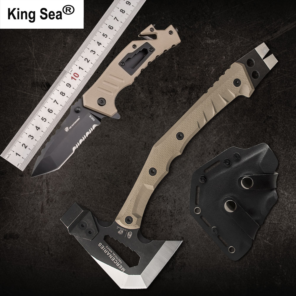 King Sea Outdoor Tactical Axe and Folding Knife Set Camping Axe and Hunting Knife Multifunctional Hatchet and Pocket Knife Set outdoor multifunction camping tools axe aluminum folding tomahawk axe fire fighting rescue survival hatchet