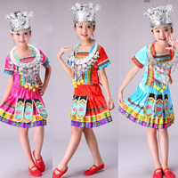 Kids Miao Dance Costumes Outfits Performing Clothes Adult Miao Outfits Women's Chinese Folk Dancing Clothes Suits for Girls