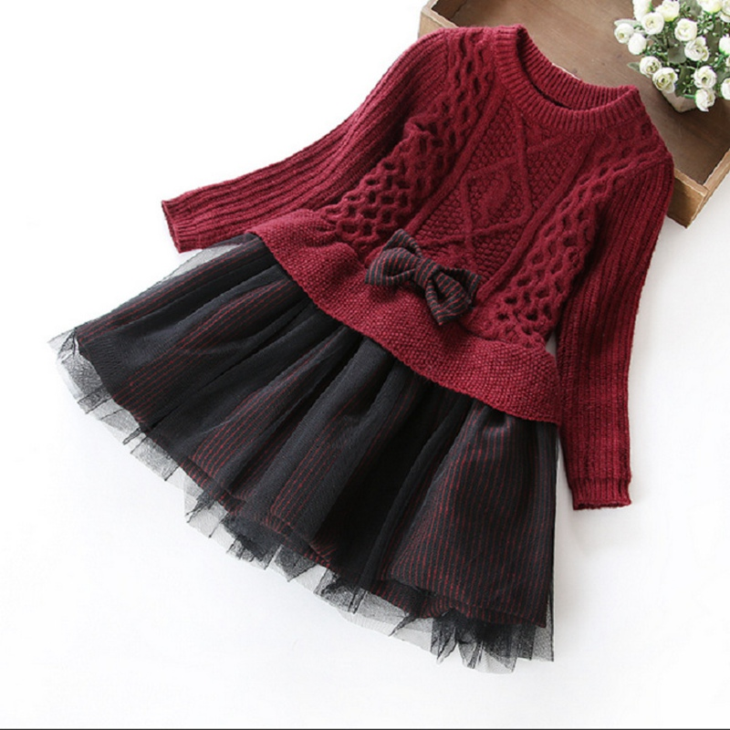 Fashion Children Kids Bow Solid Knitting Sweaters Patchwork, Long Sleeve Princess Girls Elegant Pullovers Dress Vestidos  S2856 girls europe and the united states children s wear red princess long sleeve princess dress child kids clothing red bow lace