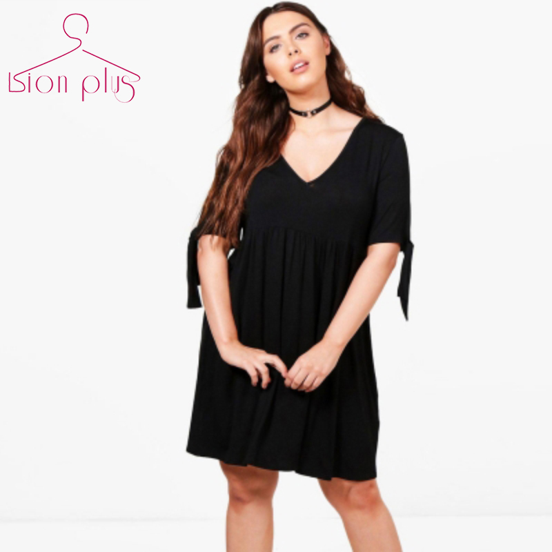 High Waist Draped <font><b>Women</b></font> Dress 6XL <font><b>7XL</b></font> 5XL <font><b>Plus</b></font> <font><b>Size</b></font> 2017 Summer Sleeve Bow Decorate V-Neck Black Light Grey Large <font><b>Sizes</b></font> Dresses image