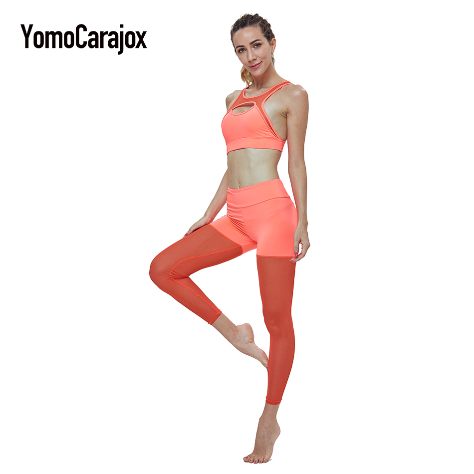 Women Sport Suit Fitness Clothing For Women Two-Piece Suit Yuga Set Workout Tops+Pants Sexy Mesh Stitching Leggings Sportswear