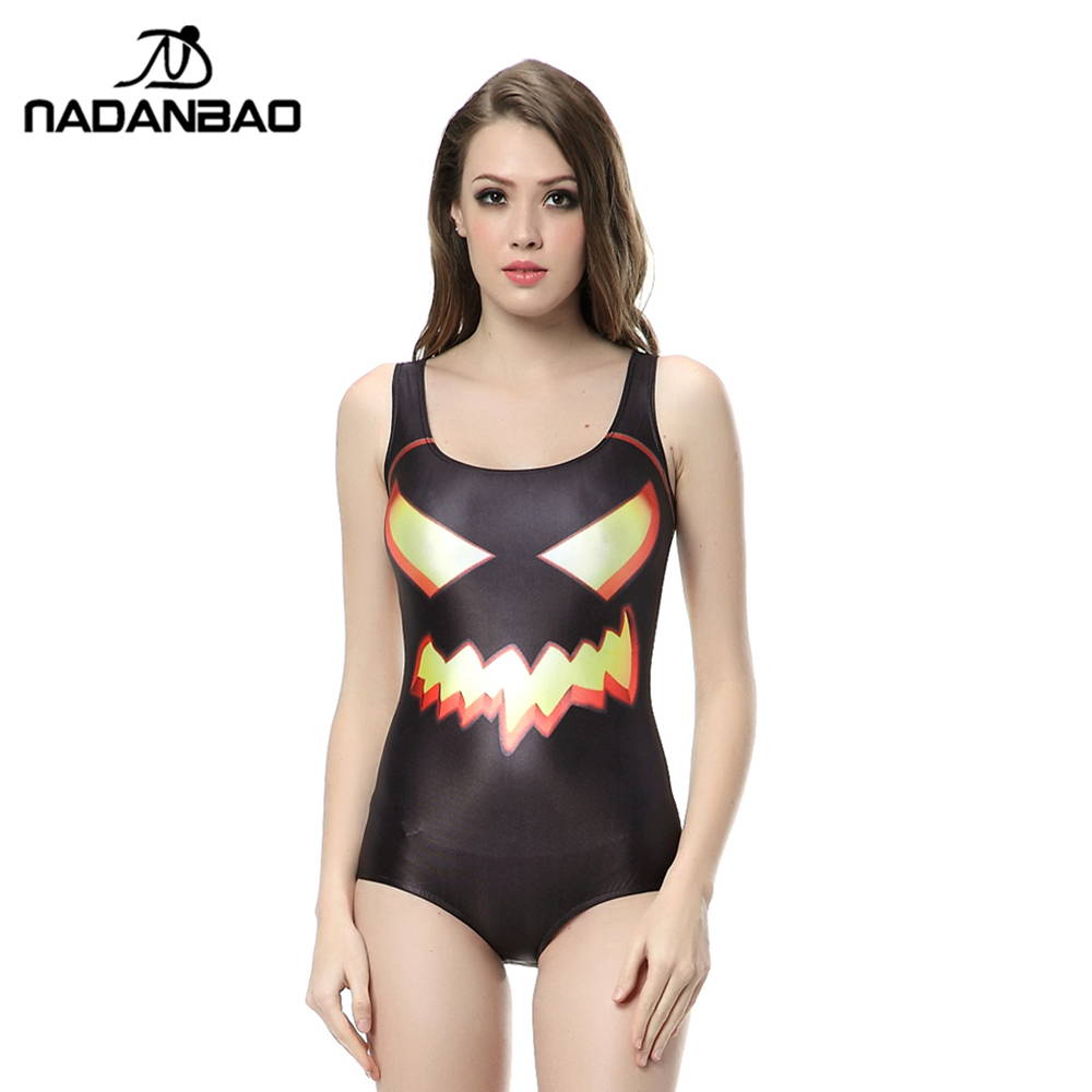new beach wear sexy sleeveless women swimwear black halloween devil printed bathing suit one piece swimsuit - Halloween Swimsuit