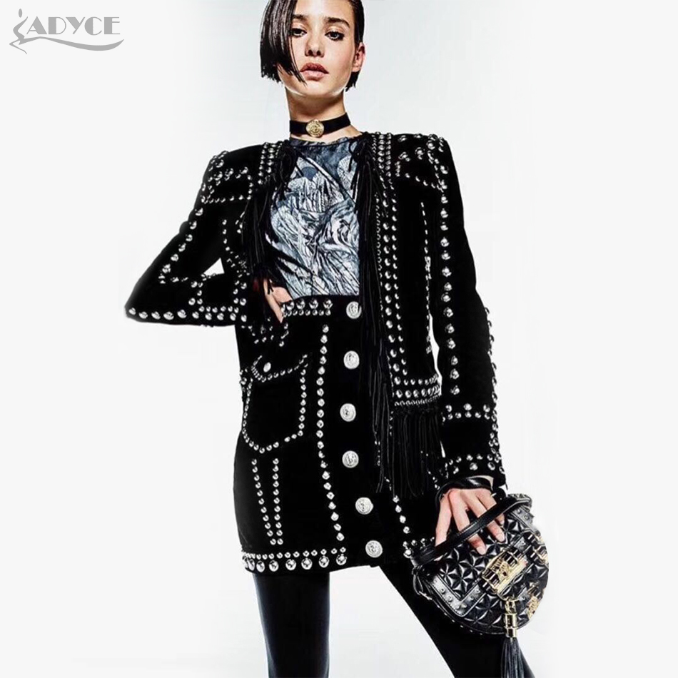 ADYCE 2018 Woman's Elegant Rivet Tassels Embellished Long Sleeve Celebrity Party New Fashion Women Jacket Women Coat