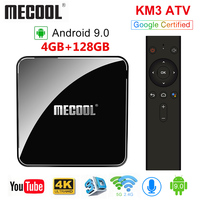 MECOOL KM3 ATV Androidtv Google Certified Android 9.0 TV Box 4GB RAM 64GB Amlogic S905X2 4K Dual Wifi BT4.0 Set Top Box KM9 Pro