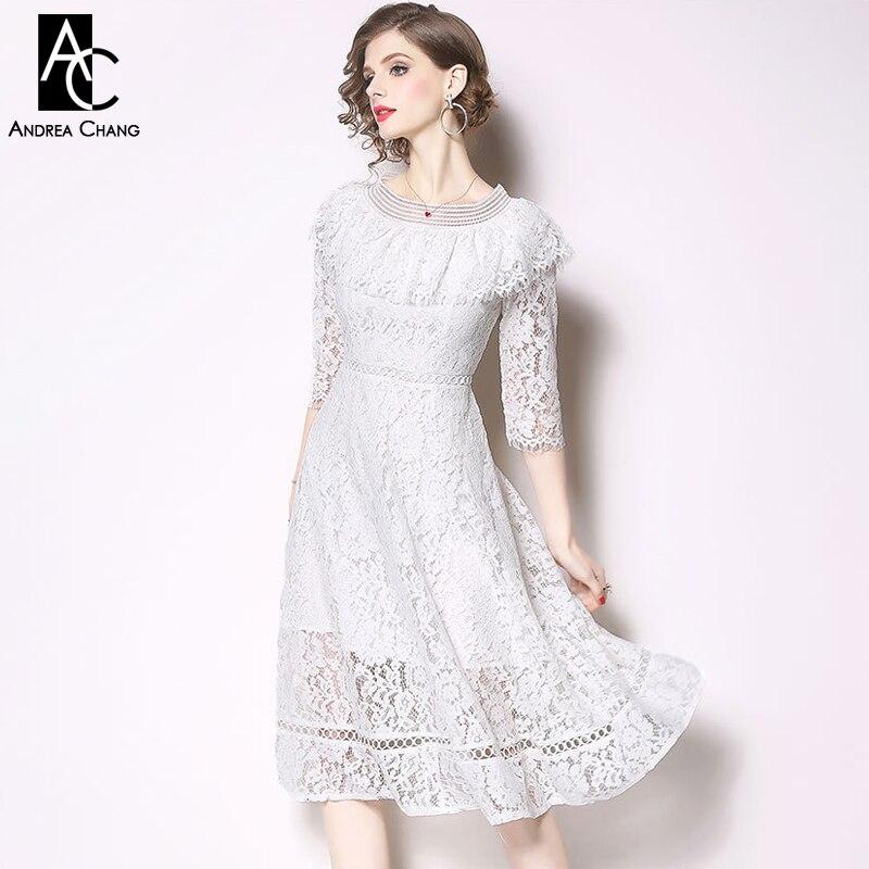 M Xxl Spring Summer Woman Dress Ruffle Shoulder 3 4 Sleeve