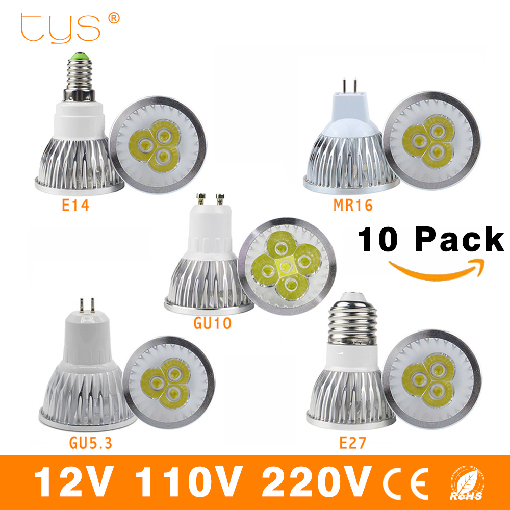 10pcs/lot LED Lamp E27 E14 GU10 Lampada Led Bulb Cob dimmable 85-265v 12v MR16 Bombillas LED Spotlight Outdoor Light 3w 4w 5w mr16 4w 280 lumen 3500k 4 led warm white light bulb ac 85 265v