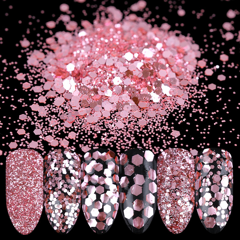 цены на 1 Box 10ml Rose Pink Nail Glitter Powder Sequins 1mm 2mm 3mm Paillette Manicure Nail Art Decoration в интернет-магазинах