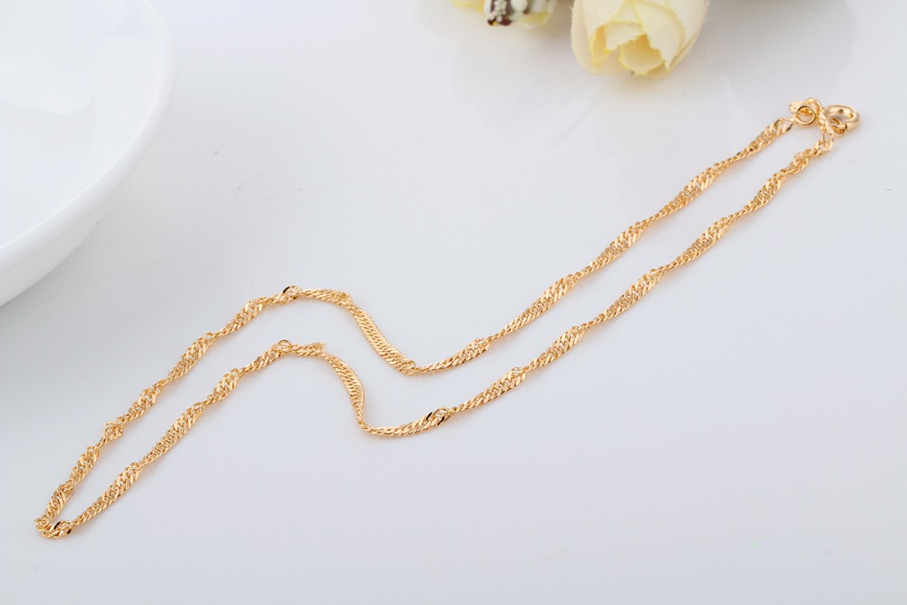Wholesale Yellow Gold Plated Twisted Chain Short Choker Necklace
